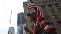 Celebrations near New York's World Trade Centre (Reuters)