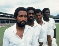 West Indian fast bowlers (left to right) Andy Roberts, Michael Holding, Colin Croft and Joel Garner, February 1981. (Photo by Getty Images)