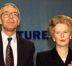 Margaret Thatcher and John Major (Image: Getty)