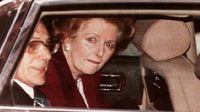 Margaret Thatcher, who has died, leaving 10 Downing Street after her resignation