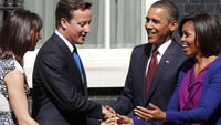 Barack and Michelle Obama visit David and Samantha Cameron at Downing Street (Reuters)