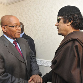 President Jacob Zuma of South Africa has paid Gaddafi a second visit in an effort to negotiate a peace deal.
