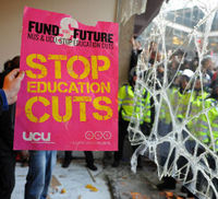 Students smashed windows at a protest in London against tuition fees (Getty).