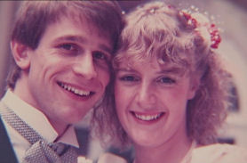 Mark and Debbie Phillips on their wedding day