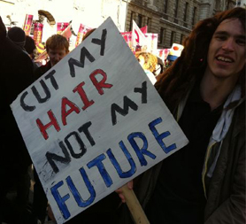 Student march: 'Cut my hair not my future' ( Credit: @hannoir via Twitter)