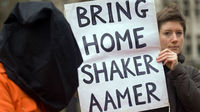 Protestors calling for the release of Shaker Aamer - Reuters