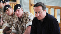 Britain's Prime Minister David Cameron speaks to British troops during his visit to Lashkar Gah in Helmand Province (Reuters)