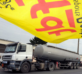 Fuel tankers queue up as French pension protests continue