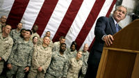 George W Bush addresses US troops. (Getty)
