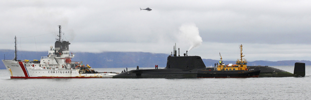 Submarine freed after running aground off Scottish coast