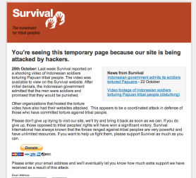 Cyber attack knocks human rights site offline (Survival International)
