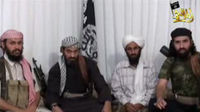 Leaders of al-Qaeda in Yemen appear in a video posted on Islamist websites. Their group has been linked to the explosives found on two cargo planes (credit:Reuters)
