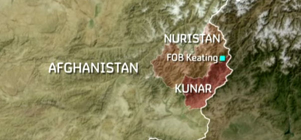 Map shows Cop Keating in Afghanistan.