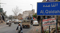 A sign for the Yemeni town of Al-Qaida, 220 kms southwest of the capital Sanaa. (Getty)