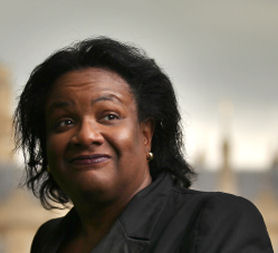 Labour leadership candidate Diane Abbott smiles after giving a television interview near Parliament on June 9. (Getty)