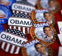 Barack Obama presidential campaign badges. Iowa made history in January 2008 as the first state to put a black candidate at the top of a presidential election poll. (Getty)