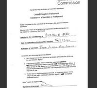 Zac Goldsmith's election expenses declaration