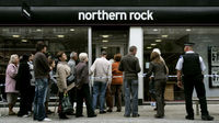 Crowds gather outside Northern Rock
