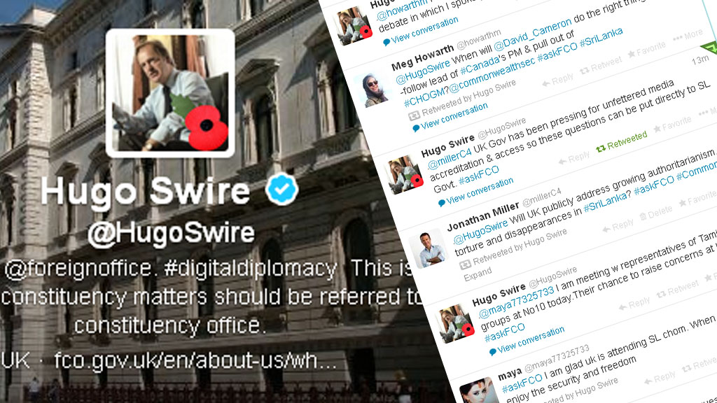 Hugo Swire, FCO minister of state, holds Twitter question and answer on CHOGM in Sri Lanka (picture: Twitter)
