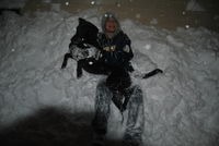Nephew and Dog in Snow