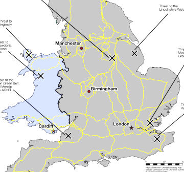 Full Map Of England.Map Proposed Pylons Across The Uk Channel 4 News