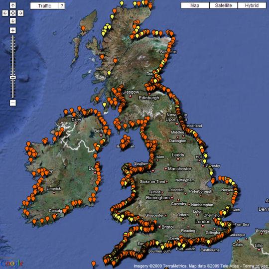 map uk beaches