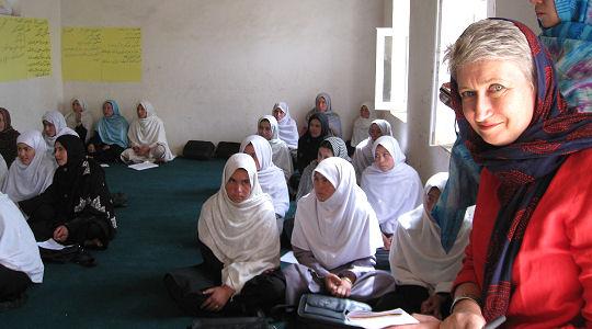 Lindsey Hilsum in a Bamiyan school - credit: Sarah Corp