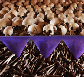 The skulls and bones of Rwandan victims rest on shelves at a genocide memorial inside the church at Ntarama