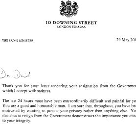 Laws resignation letter and Cameron\'s response in full - Channel 4 ...